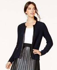 Alfani Faux Leather Trim Sweater Jacket Only At Macy's