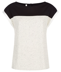 People Tree Florence Colour Block Top Black