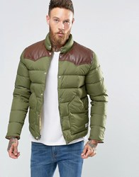 Penfield Pelam Down Quilted Jacket Leather Yoke Olive Green