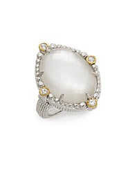 Judith Ripka Melange Mother Of Pearl Rock Crystal Doublet White Sapphire 18K Yellow Gold And Sterling Silver Ring