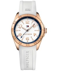 Tommy Hilfiger Women's Everyday Sport White Silicone Strap Watch 34Mm 1781636 Rose Gold