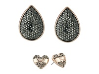 Guess Heart And Teardrop Duo Stud Set Earrings Rose Gold Hematite Earring Pink
