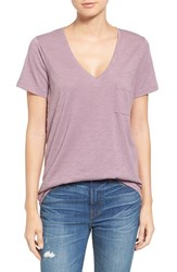 Madewell Women's 'Whisper' Cotton V Neck Pocket Tee Fig