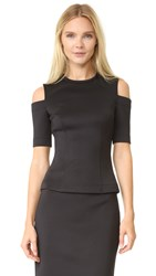 Yigal Azrouel Scuba Cold Shoulder Top Black