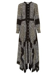 Altuzarra Winnie Silk Habotai Paisley Print Dress Black Print