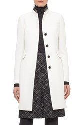 Women's Akris Punto Wool Coat With Leather Trim