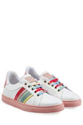 Red Valentino Leather Sneakers With Rainbow Stripes White