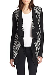Bailey 44 Ice Queen Draped Intarsia Cardigan Black White