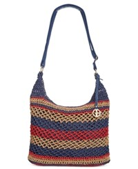 Giani Bernini Striped Woven Crossbody Only At Macy's Red Multi