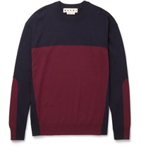 Marni Slim Fit Colour Block Cashmere Sweater Blue