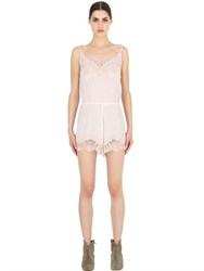 Pink Memories Silk Crepe De Chine Jumpsuit With Lace