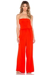 Michael Stars Strapless Wide Leg Jumpsuit Red