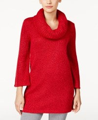 Karen Scott Marled Cowl Neck Tunic Sweater Only At Macy's New Red Amore Marl