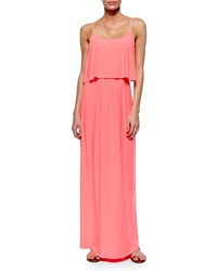 T Bags Flowy Bodice Maxi Dress Neon Pink