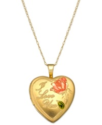 Macy's Engraved Love Heart Locket Pendant Necklace In 14K Gold