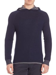 Vince Raglan Sleeve Hooded Sweatshirt Coastal Blue