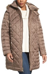 Kenneth Cole Plus Size Women's New York Faux Fur Trim Hooded Down And Feather Fill Coat Canyon