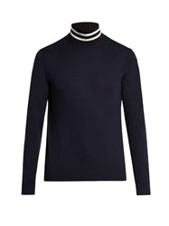 Paul Smith Roll Neck Wool And Silk Blend Sweater Black White