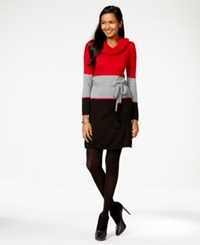 Ny Collection Petite Belted Cowl Neck Colorblock Sweater Dress Rosemary