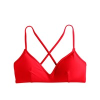J.Crew French Cross Back Bikini Top Belvedere Red