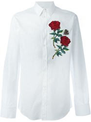 Dolce And Gabbana Rose Applique Shirt White