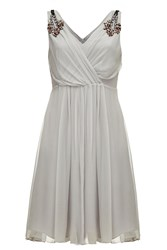 Almost Famous Embellished Silk Dress Grey