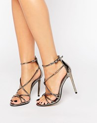 Office Spindle Pewter Metallic Strappy Heeled Sandals Pewter Mirror Metall Silver