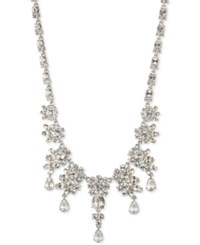 Givenchy Silver Tone Multi Crystal Cluster Collar Necklace