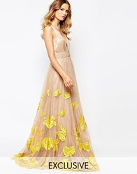 A Star Is Born Luxe Plunge Front Full Tulle Prom Maxi Dress With Embellishment Yellow