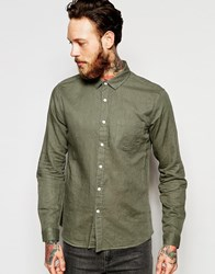 Asos Laundered Linen Shirt In Olive With Long Sleeves Green