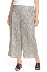Plus Size Women's Eileen Fisher Print Organic Cotton Wide Leg Crop Pants