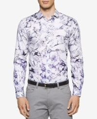 Calvin Klein Men's Slim Fit Marble Shirt Purple Traviata