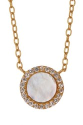 Argentovivo 18K Gold Plated Sterling Silver Mother Of Pearl Cz Pendant Necklace Metallic