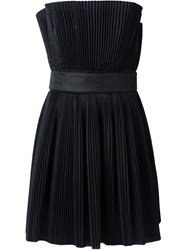 Roberto Capucci Pleated Strapless Dress Black