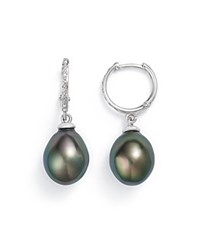 Tara Pearls 14K White Gold Natural Color Tahitian Cultured Pearl Hoop Drop Earrings Black