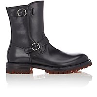 Barneys New York Men's Double Buckle Moto Boots Black Size 6 M