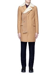 Sacai Shearling Underlay Wool Military Coat Brown