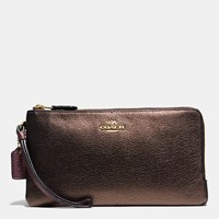Coach Double Zip Wallet In Colorblock Leather Light Gold Oxblood Bronze