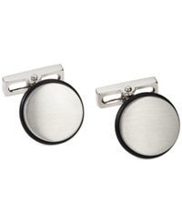 Kenneth Cole New York Brushed Rhodium Circle With Black Rubber Band Cufflinks