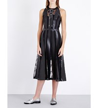 Christopher Kane Striped Lace And Faux Leather Dress Black