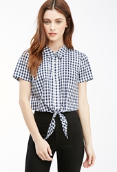 Forever 21 Cropped Knot Front Gingham Shirt Cream Navy