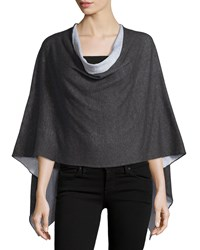 Minnie Rose Reversible Cotton Poncho Charcoal Heather Gray