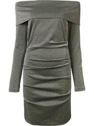 Nicole Miller Metallic Grey Off Shoulders Dress