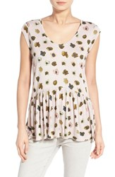 Women's Hinge Flutter Hem Cap Sleeve Top