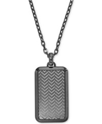 Armani Exchange Emporio Men's Gunmetal Textured Dog Tag Pendant Necklace Egs2255