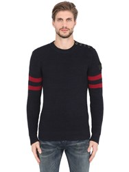 G Star Crew Neck Cotton Knit Sweater W Stripes