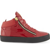 Giuseppe Zanotti Patent Leather Mid Top Trainers Red