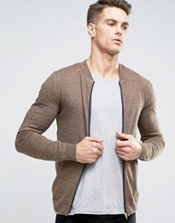 Asos Knitted Cotton Bomber Jacket In Muscle Fit Camel And Navy Twist Brown