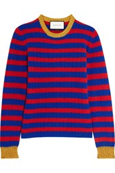 Gucci Striped Cashmere And Wool Blend Sweater Red Blue