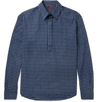 Barena Slim Fit Half Placket Gingham Cotton Shirt Blue